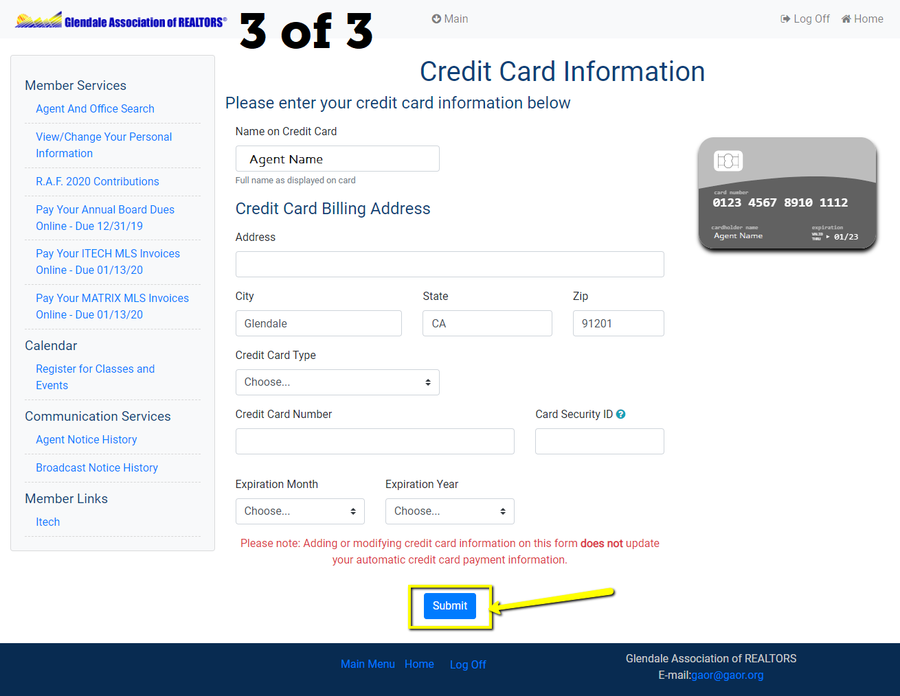 Supply Credit Card Information