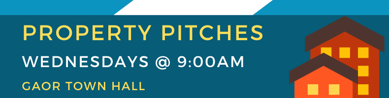 Property Pitches Welcomed Every Wednesday at 8:30am