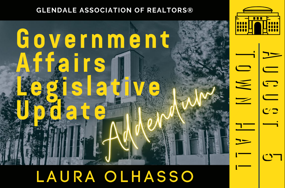 Notes from Government Affairs Legislative Update