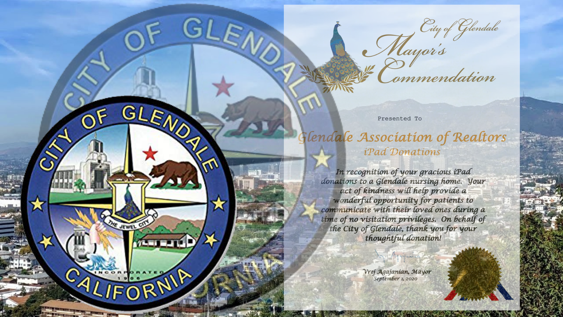 iPad Donation - City of Glendale Commendation - Steven Small - 2020 President