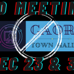 No Town Hall Meetings December 23 and 30