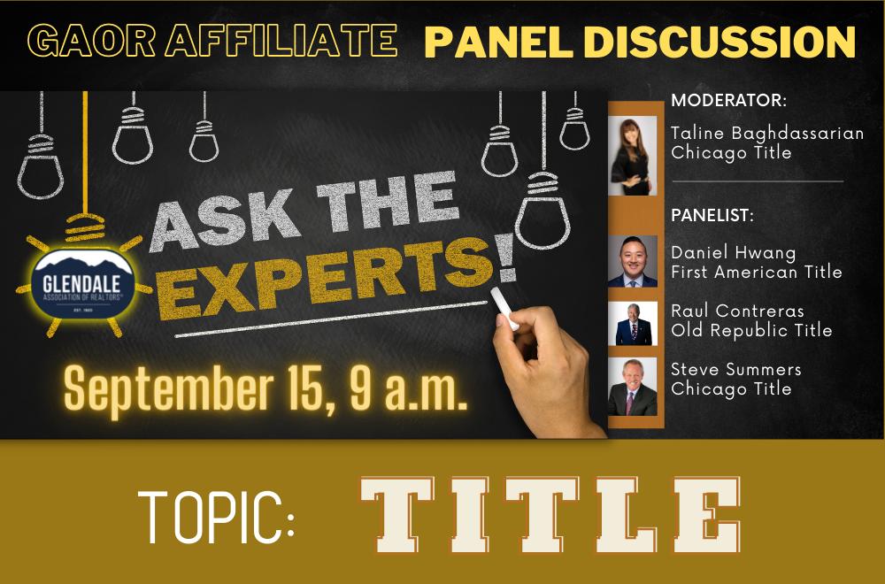 GAOR Affiliates - Panel Discussion - TITLE